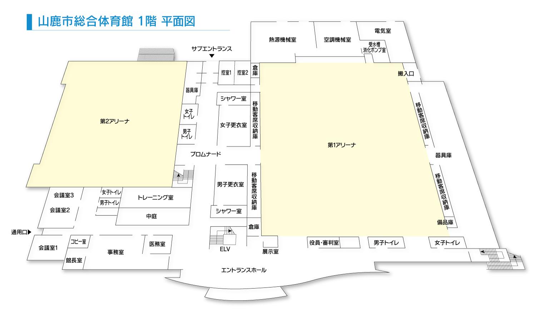山鹿市総合体育館 1階 平面図