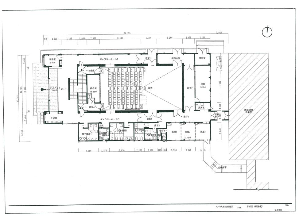 八千代座交流館の椅子あり平面図